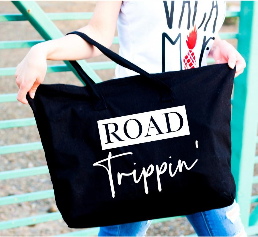 Wedding - tote bag canvas - Large tote bag with zipper - Road trippin' - Large custom tote bags - Tote bag with zipper for women - Bags for her - tote