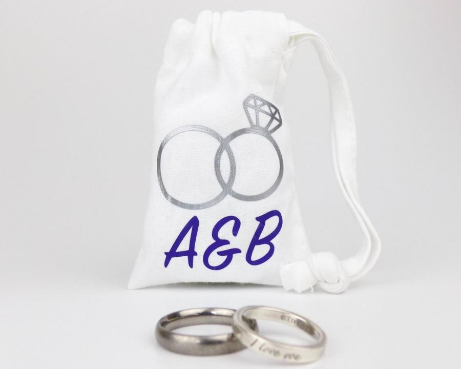 Wedding - Personalised Wedding Rings Bag -  100% Cotton - Empty - Great Wedding Gift - Personalized with Bride & Groom's Initials