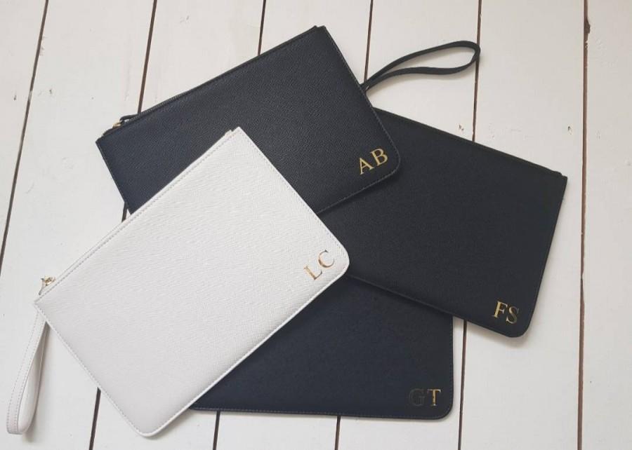 Wedding - Monogrammed clutch bag - bridesmaid bag - maid of honour gift - bridal bag - bride clutch - bridesmaid gift - monogram bag
