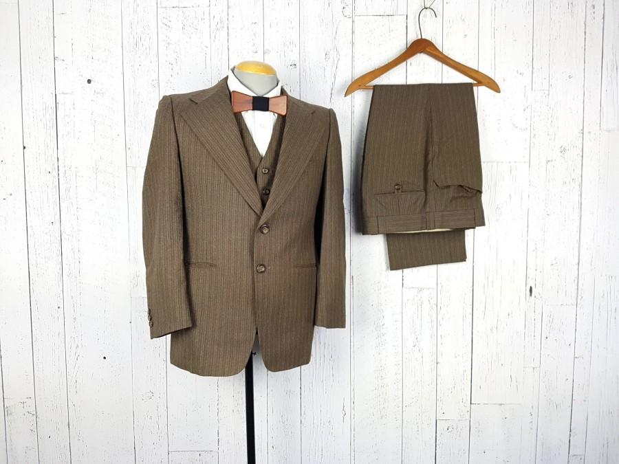 Hochzeit - Vintage 60s Three Piece Suit Brown Stripe 36S 36 Short Jacket Waistcoat Vest 33x26.5 Flat Front Trousers Pants Retro Wedding Prom Wear