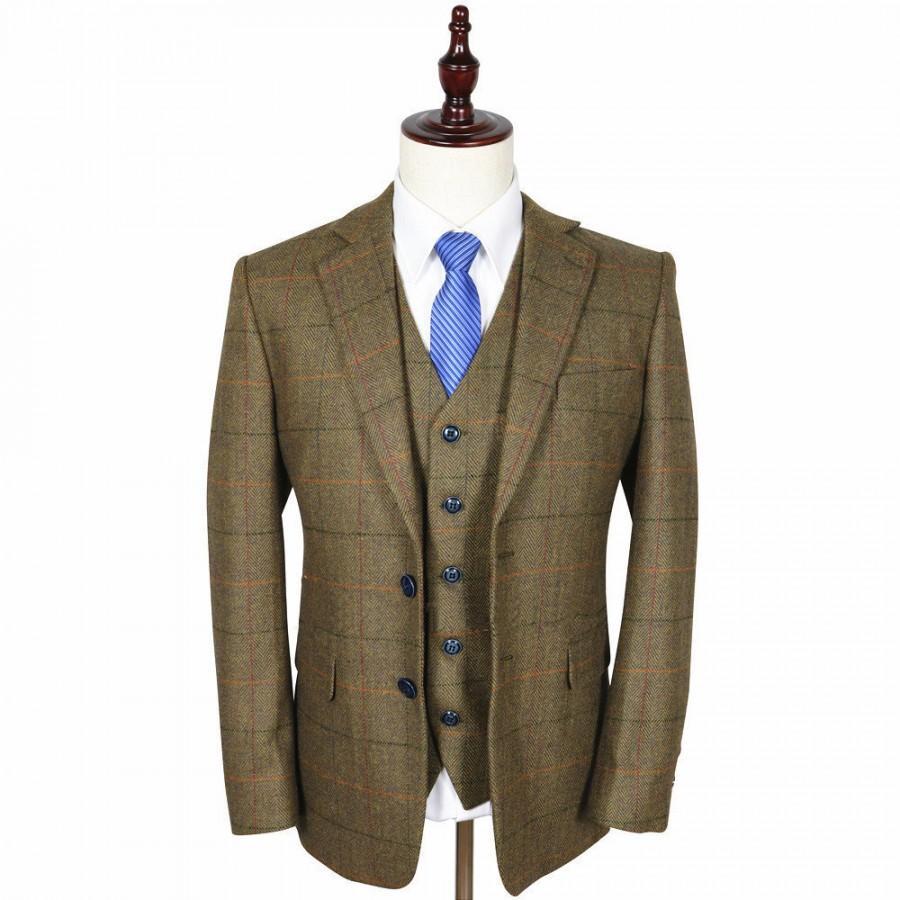Hochzeit - Brown Estate Herringbone Tweed 3 Piece Suit
