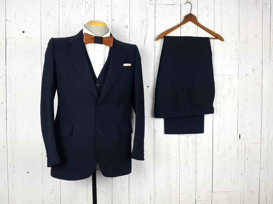 Hochzeit - Vintage Nino Cerruti Three Piece Suit Navy Pinstripe 36R 36 Regular Jacket Waistcoat Vest 34x30 Pleated Trousers Retro Unique Wedding Wear