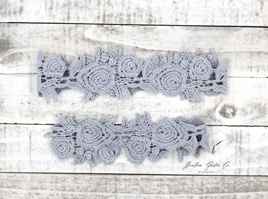 Wedding - Something Blue Wedding Garter, Lace Wedding Garter Set, something blue lace garter DUSTY BLUE H