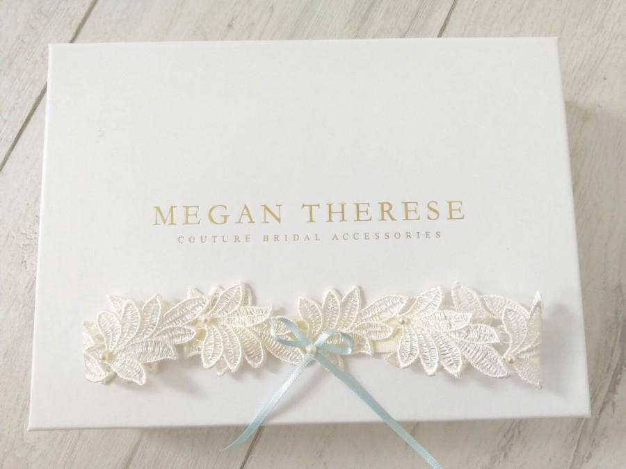 Wedding - Leaf garter, lace garter,Blue garter, bridal garter, lace wedding garter, wedding garter set, bridal garter set , garter,garters for wedding