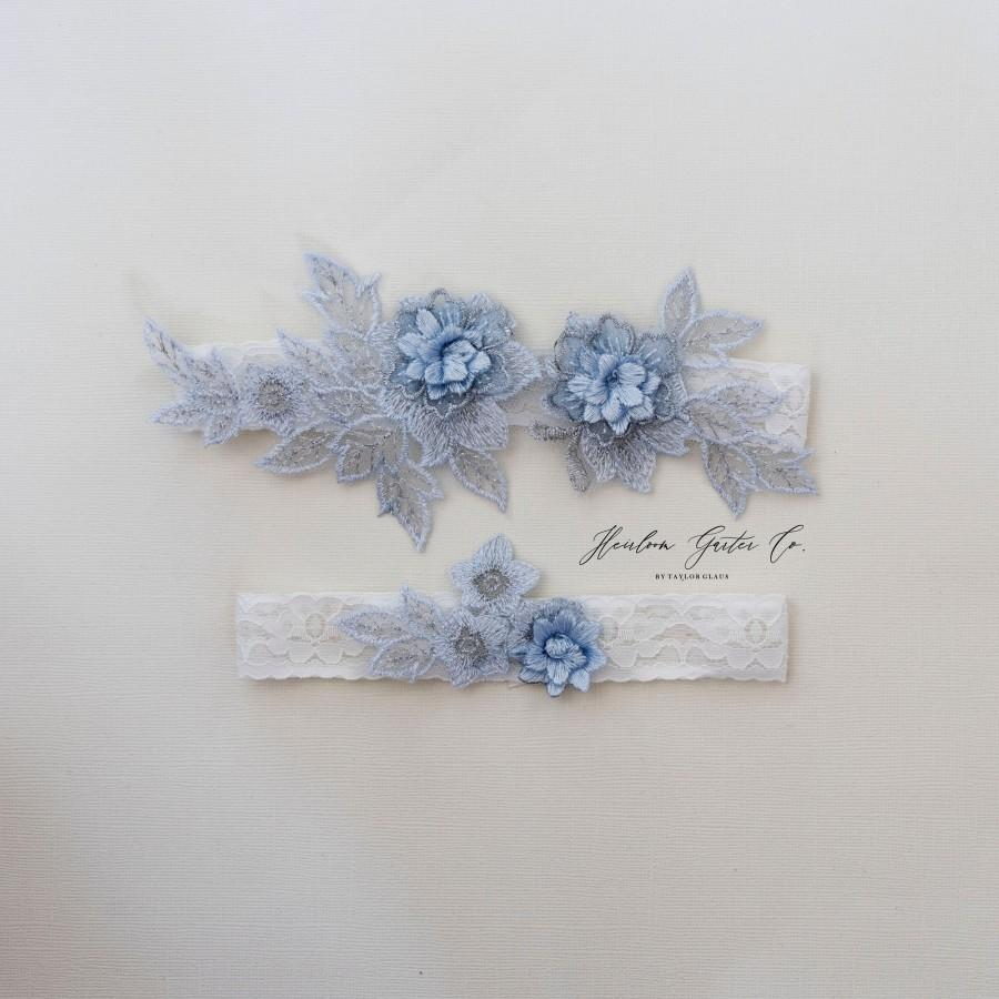 Wedding - Something Blue Wedding Garter Set NO SLIP grip bridal garter, elegant wedding garter set WHITE C87blue-C87blue