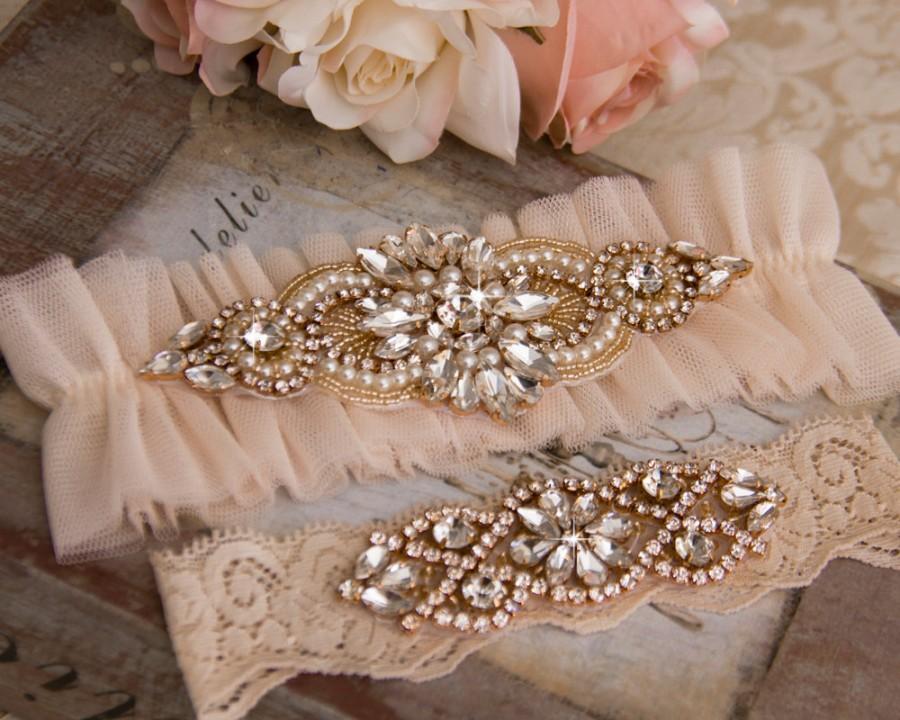 Wedding - Blush Wedding Garter Set, Blush Bridal Garter Set, Tulle Garter, Blush Tulle Wedding Garter, Blush Tulle Wedding Garter, Rose Gold Garter