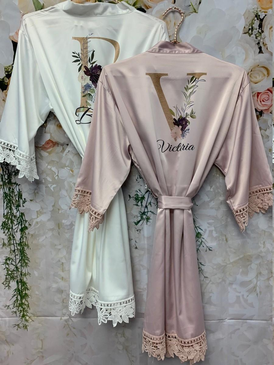 Wedding - Wedding Dressing Gown, Bridal Robes, Satin Dressing Gown, Bridesmaid Robe, Wedding, Wedding Party Robes, Bride Robe, Bridesmaid Gift