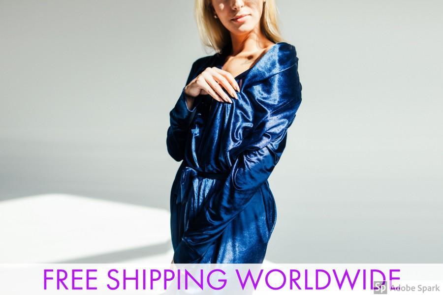 Mariage - Velvet Velour Robe blue
