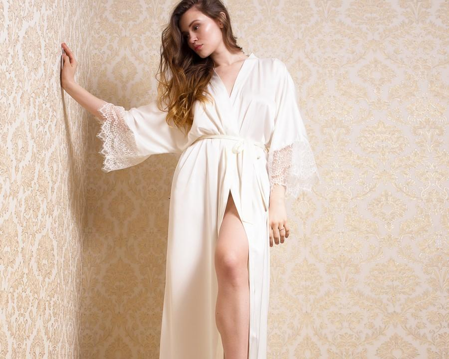 Wedding - Personalized Long Bridal Robe • White Silk Dressing Gown, Lace Satin Wedding Lingerie, Sexy Unique Christmas Gift for Her, Bride, Bridesmaid