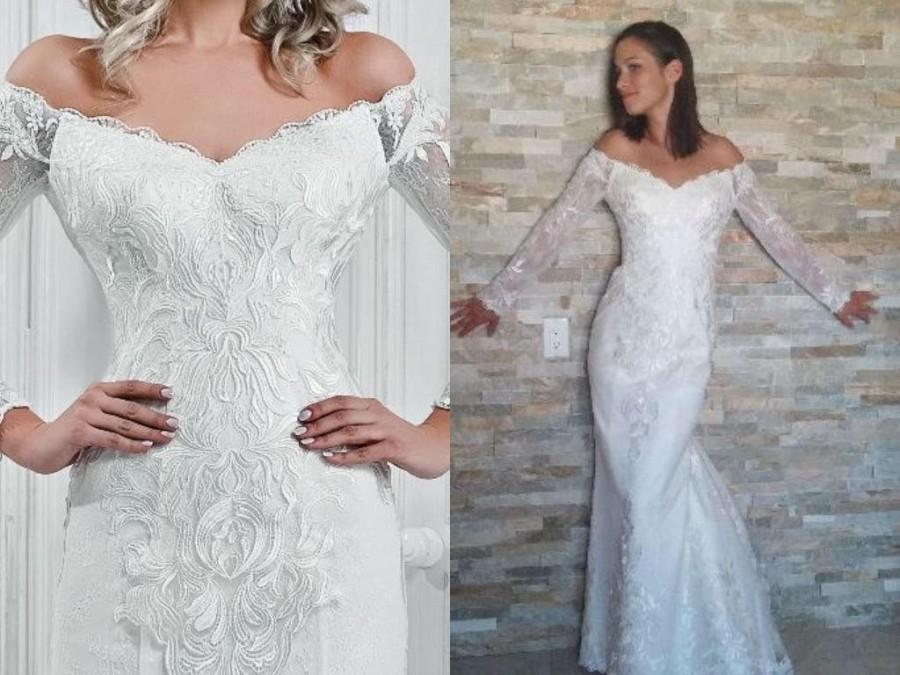 Mariage - Mina - Satin Lace Sheath Wedding Dress /Off Shoulder /Corset