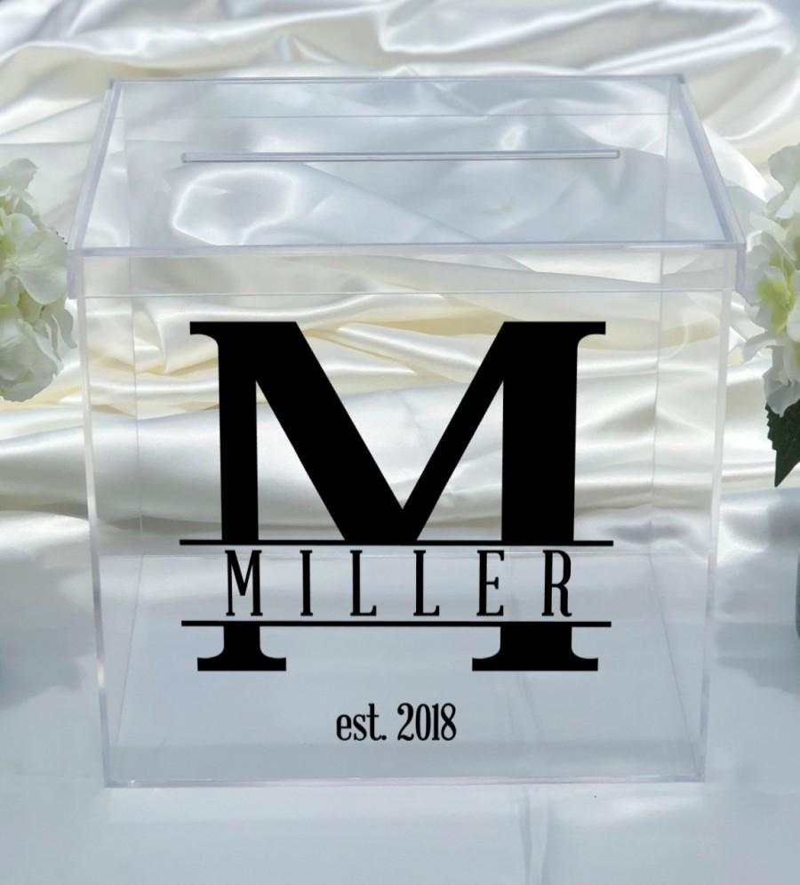 Wedding - Personalized Clear Acrylic Card Box - Great for Weddings - Bridal Shower - Anniversary - Choose The Color