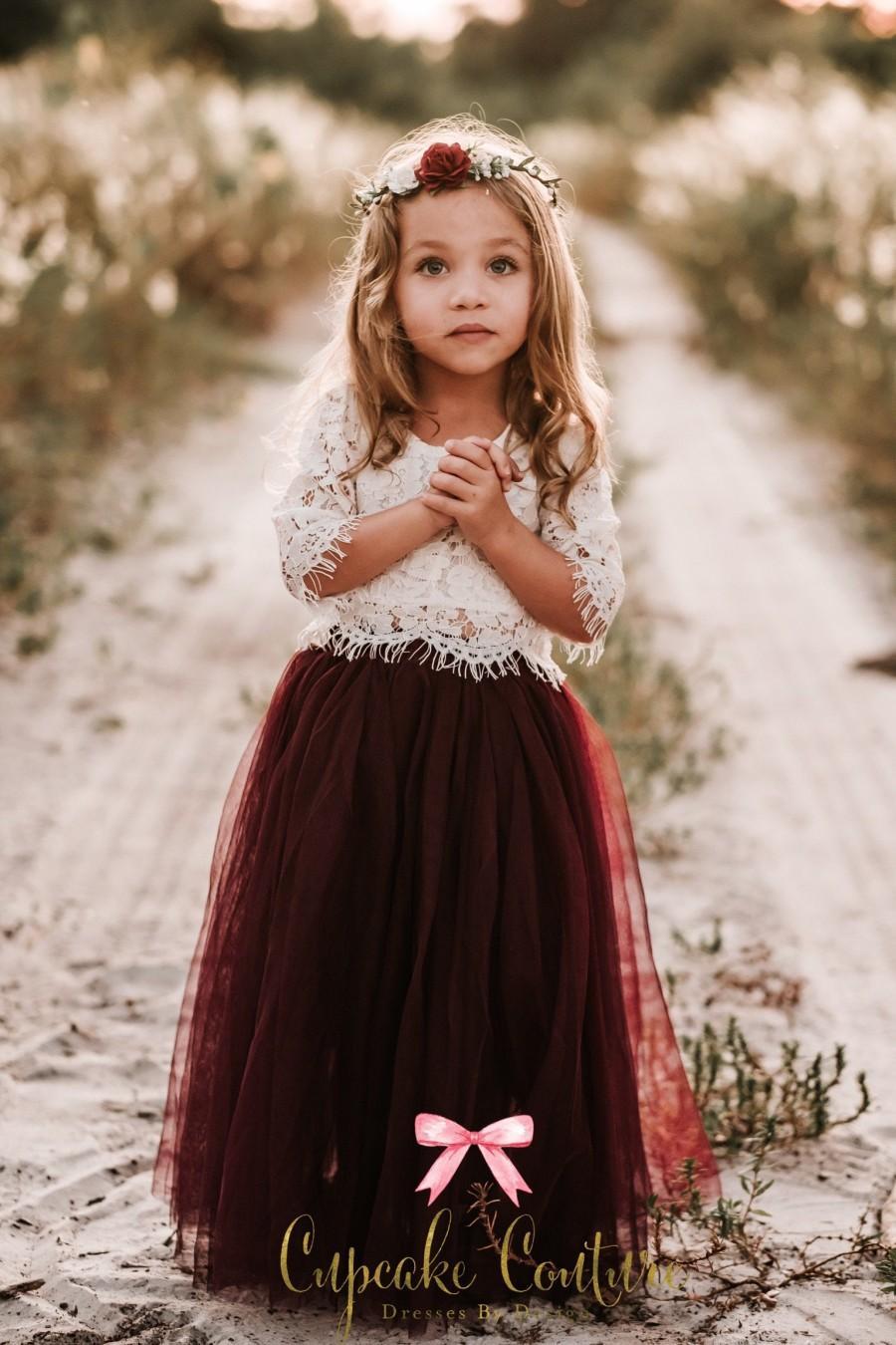 Wedding - Blush flower girl dress, toddler flower girl dress, tulle flower girl dress, long sleeve flower girl dress, flower girl dress