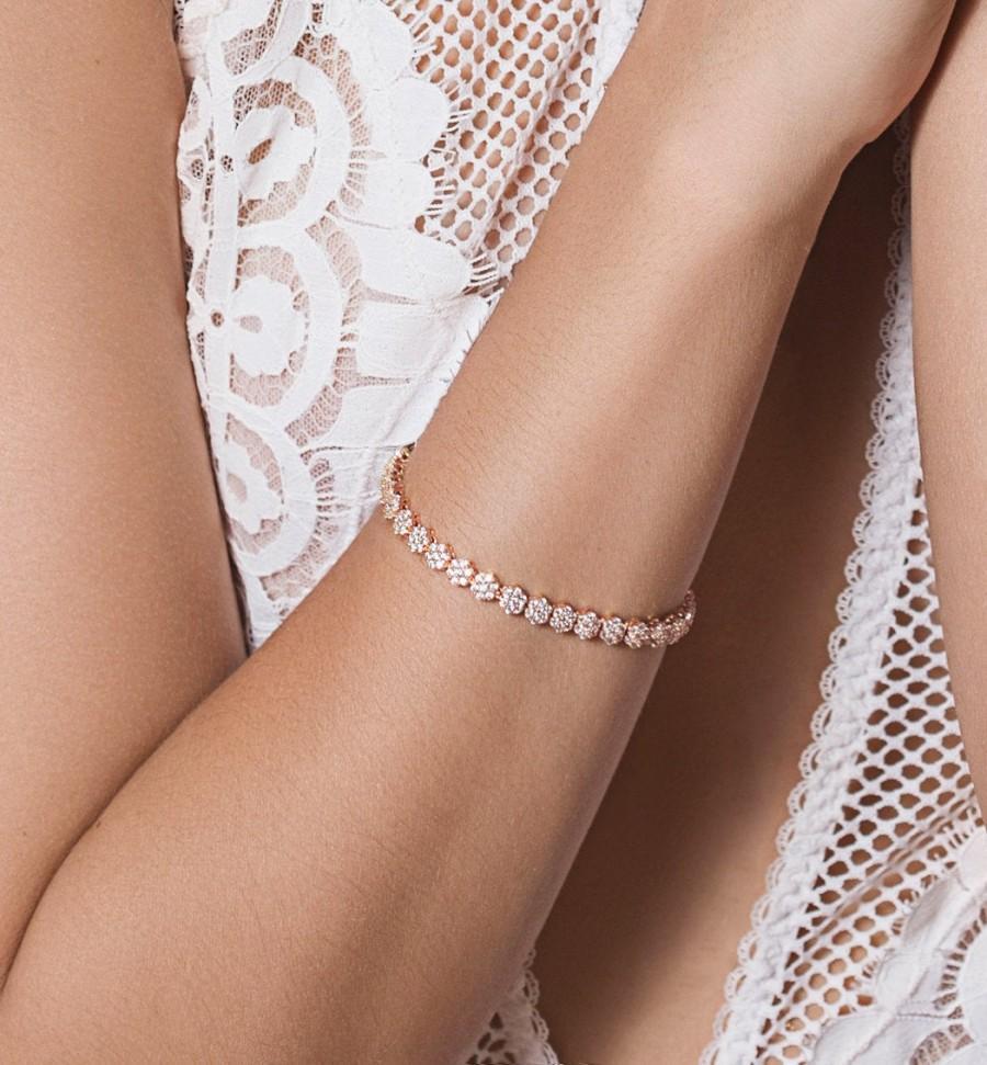 Mariage - Tennis Bracelet, Bridal Jewelry, Rose Gold Bracelets, Bridal Bracelet Wedding Jewelry Wedding Accessories Crystal Bracelet Stackable B246