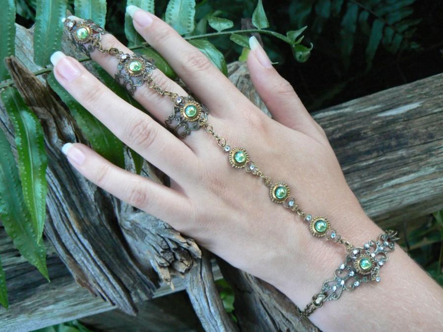 Wedding - elfin hand chain,peridot slave bracelet,green,full finger ring,hand flower,poison ivy,cosplay,festival,boho,victorian ,moon goddess , gypsy
