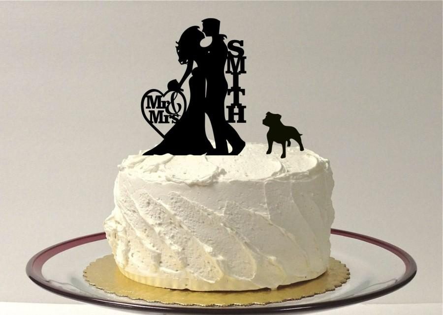 Mariage - MADE In USA, Silhouette Personalized Wedding Cake Topper + Pet Dog,  Pit Bull Silhouette Wedding Cake Topper, Personalized Cake Topper,