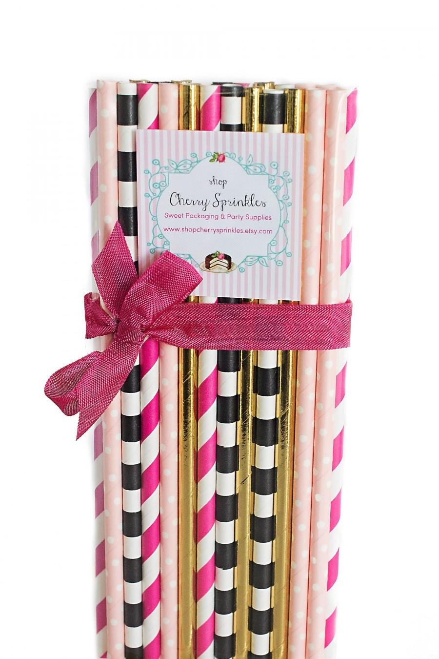 Mariage - Kate Spade inspired party -Gold Straws *Hot Pink Pink & Gold Party, Hot Pink Straws, Gold Straws, Pink and Gold Baby Shower, Pink Wedding
