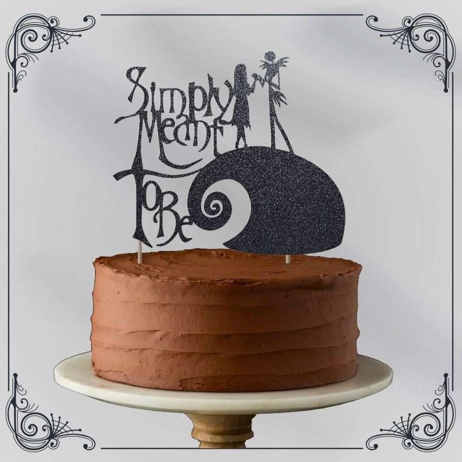 Mariage - Simply Meant To Be -  Alternative black glitter cake topper - gothic style - goth wedding - Nightmare Before - Quick dispatch - Ready to use