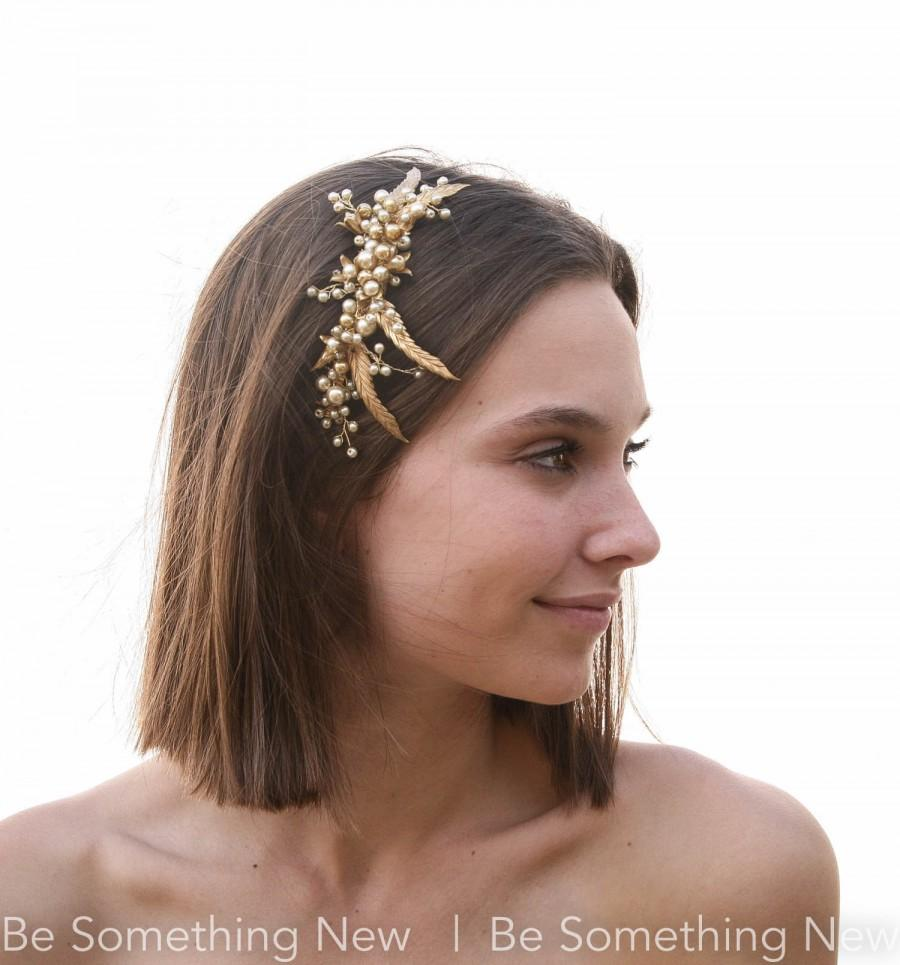 Wedding - Gold Bridal Hair Comb Vintage Inspired Wedding Hair Accessory Headpiece with Gold Leaves and Pearls Decorative Comb Hair Jewelry