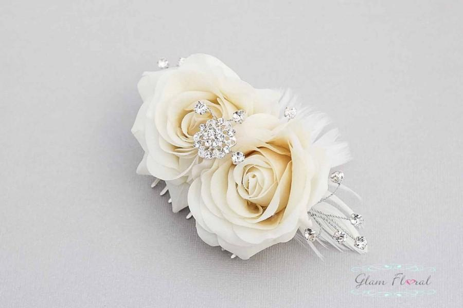 Wedding - Bridal Hair Piece, ivory/ cream/ natural white rose flower hair comb, feathers, roses, rhinestones and crystals