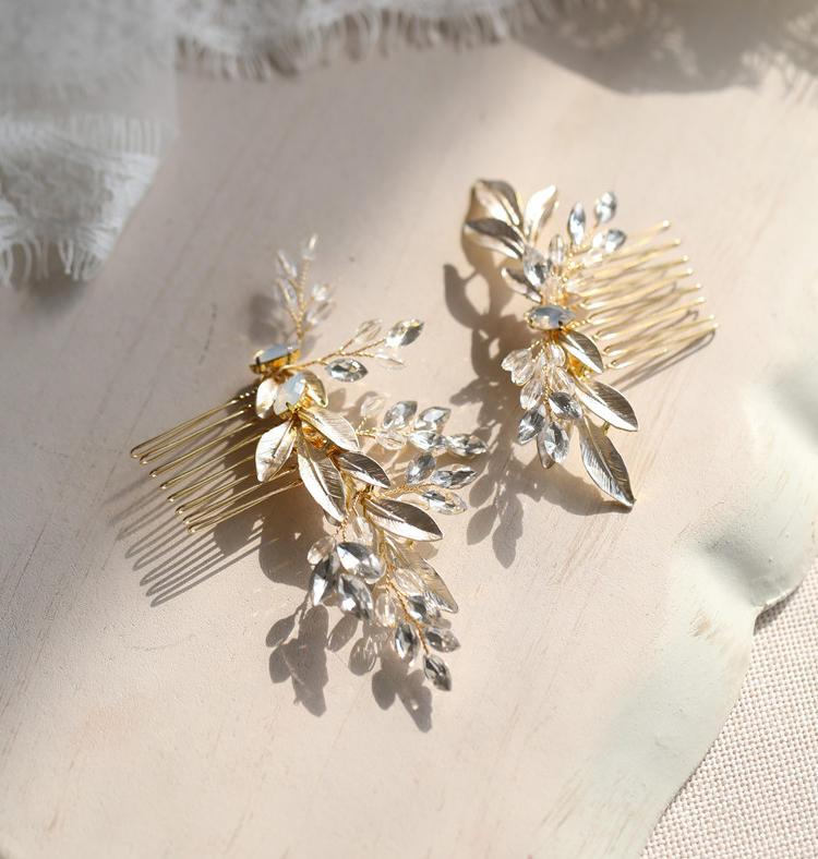 Wedding - Vintage Gold Bridal Hair Comb, Hair Piece with Crystals // Vintage inspired / Wire Wrapped // Venus Gold Leaf & Crystal Hairpiece