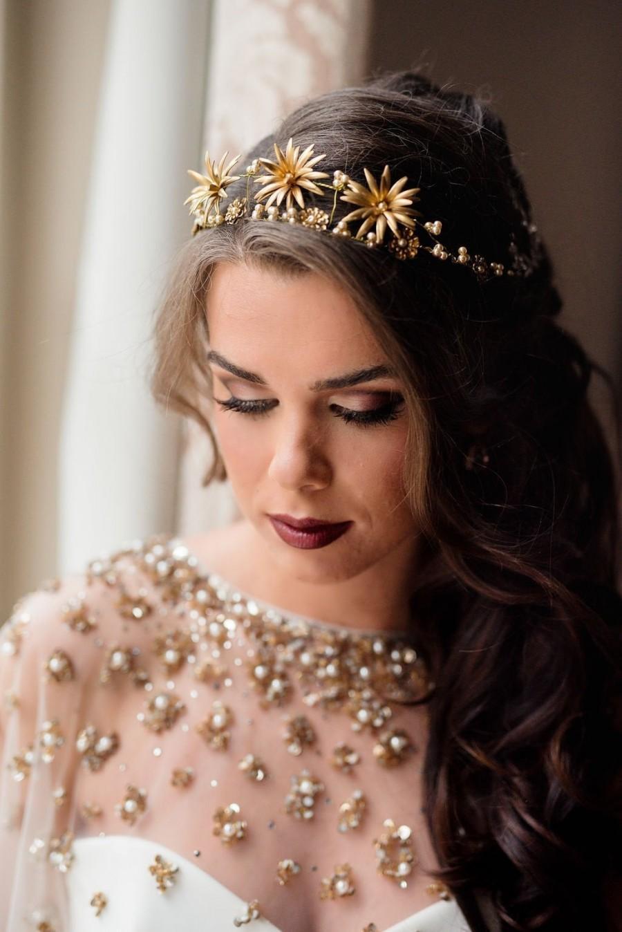 Wedding - Gold Metal Flower Crown Vintage Brass Flower Tiara with Champagne Pearls Wedding Bridal Headpiece Celestial Wedding Headband