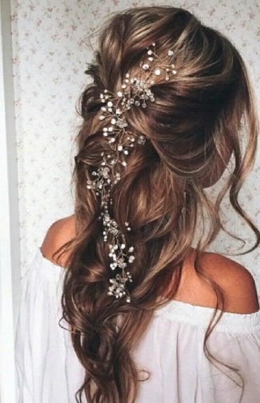 Mariage - SALE Crystal and Pearl hair vine Extra Long Hair Vine Bridal Hair Vine Wedding Hair Vine Crystal Hair Piece Bridal Jewelry Hair Vine Pearl