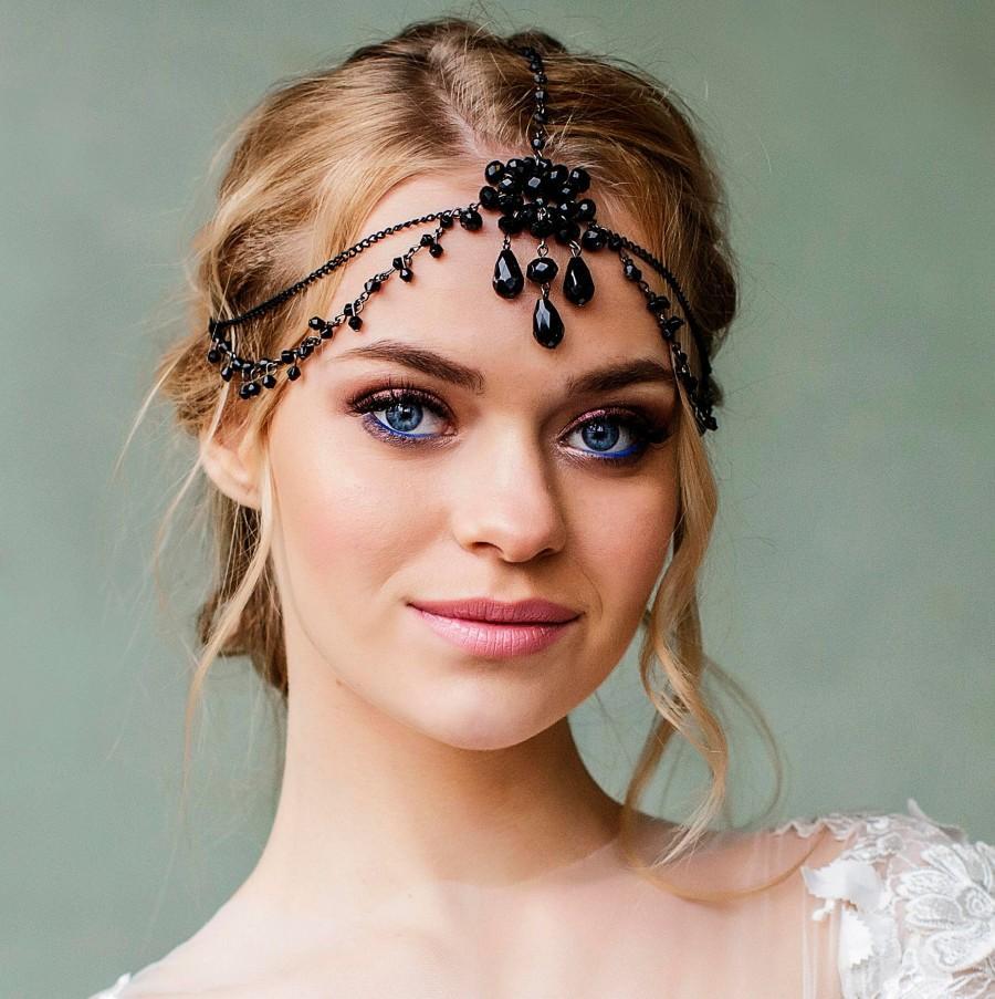 Wedding - Great Gatsby Headpiece Bridal Hair jewelry forehead band Bridal Black head chain Headband hair accessory 1920s