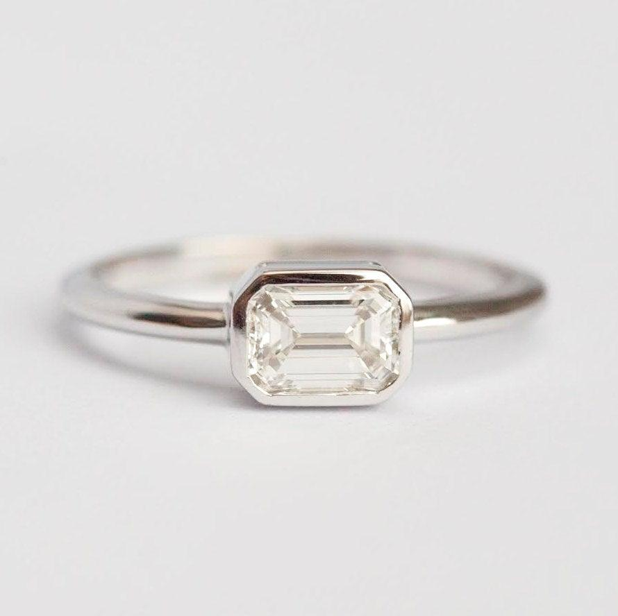 Wedding - Solitaire Emerald Diamond Ring, White Gold Engagement Ring with Emerald Cut Diamond in Bezel Setting