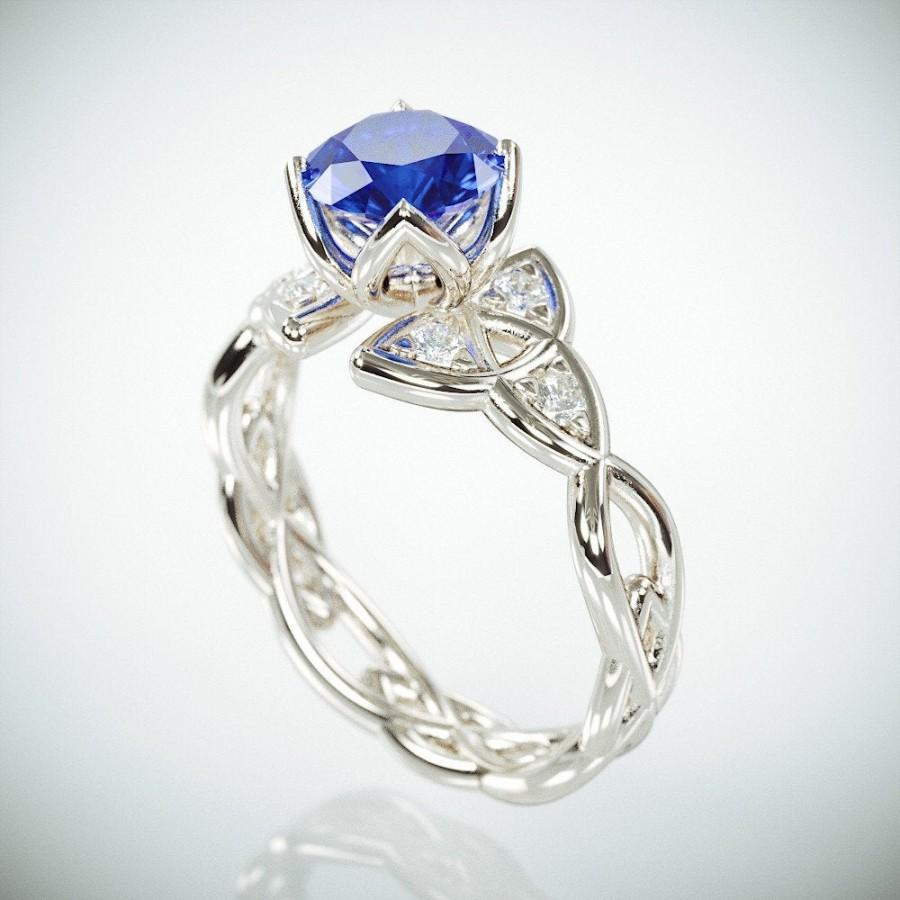 Wedding - 14k White Gold Celtic Trinity Knot Wedding Ring set with Blue Sapphire and Diamonds