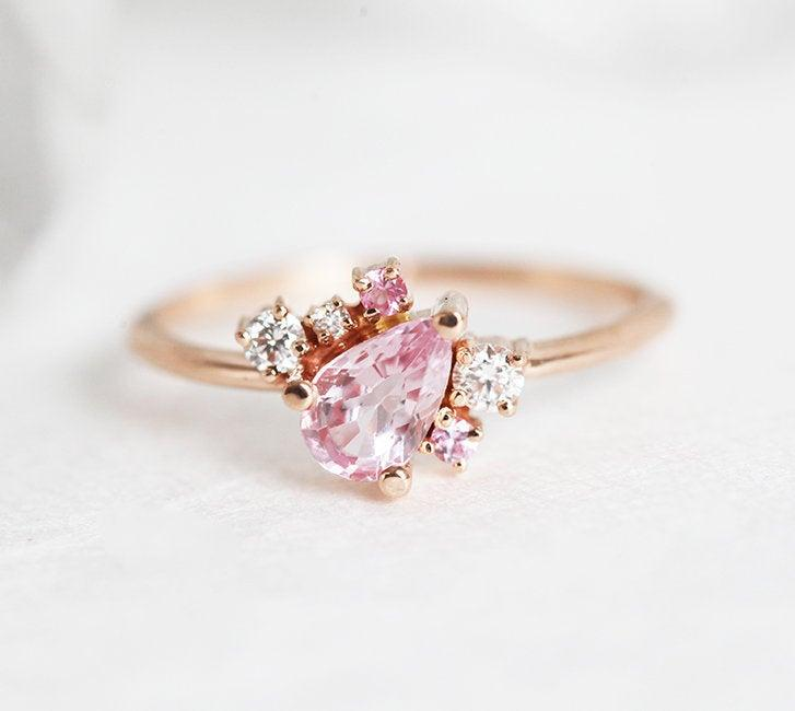Wedding - Light Pink Sapphire Ring, Sideways Cluster Ring Rose Gold, Pink sapphire Engagement Ring In 18k Rose Gold, Sapphire Diamond Ring