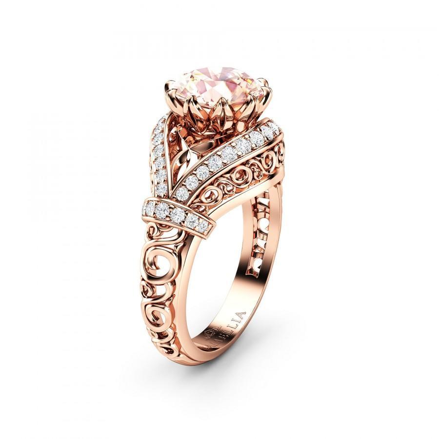 Wedding - Unique Peach Pink Morganite Engagement Ring 14K Rose Gold wedding Ring 2 Carat Morganite Unique Ring