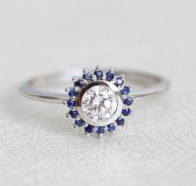 Wedding - Blue Sapphire Diamond Ring, Round Diamond Ring with Halo Sapphire, Half Carat Engagement Ring