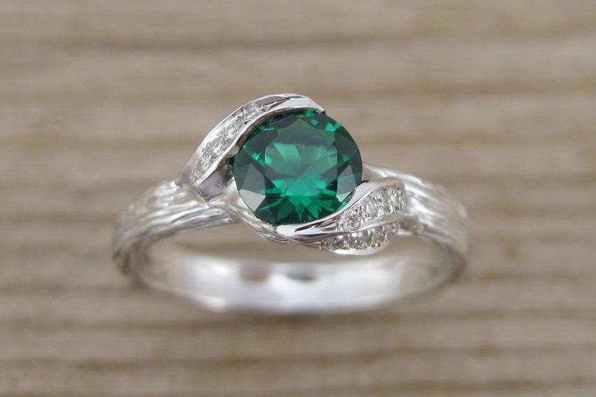 Wedding - Leaf Engagement Ring, Emerald Engagement Ring, Twig Leaves Emerald Ring, Wood Engagement Ring, Emerald Ring, White Gold Bark Engagement Ring