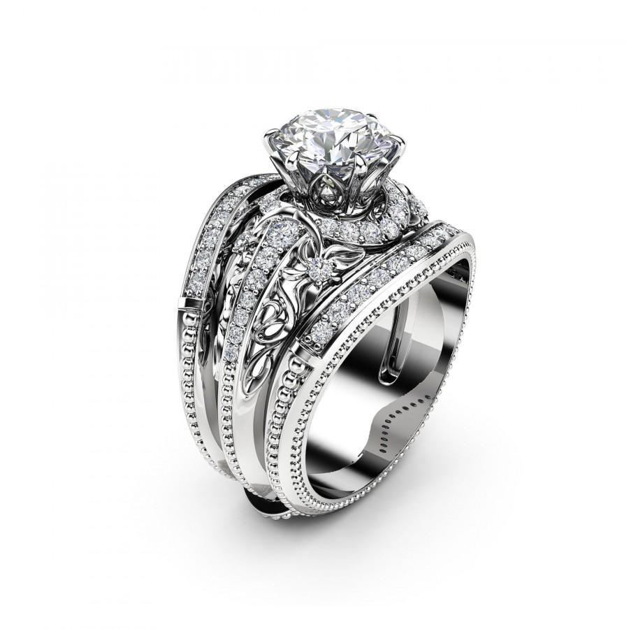 Wedding - Moissanite Engagement Ring Guard Set Unique 14K White Gold Rings Natural Side Diamonds Bridal Set