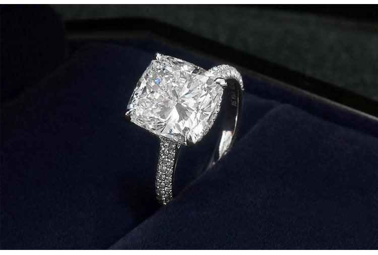 Wedding - 5CT Cushion Cut Moissanite Engagement Ring, 14K/18K Solid Gold w/ Natural Diamonds, Cushion Eternity Ring 5 Carats Moissanite