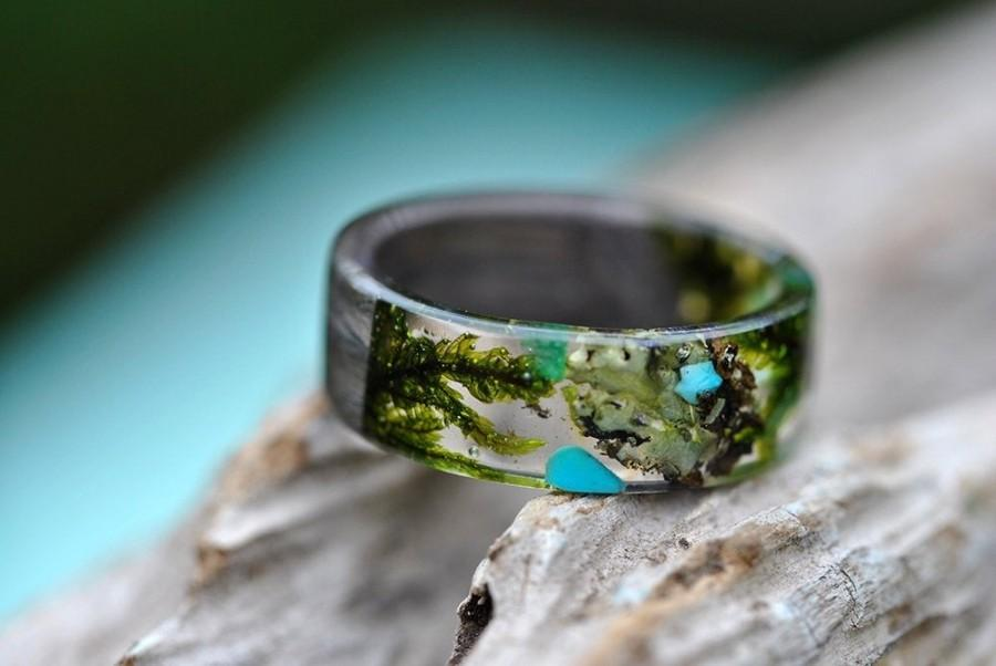 Wedding - Forest women ring, Wood Grass Resin Ring, Women Nature Unique Rings, Celtic Engagement Wooden Rings, Plant resin ring, Terrarium wood ring,