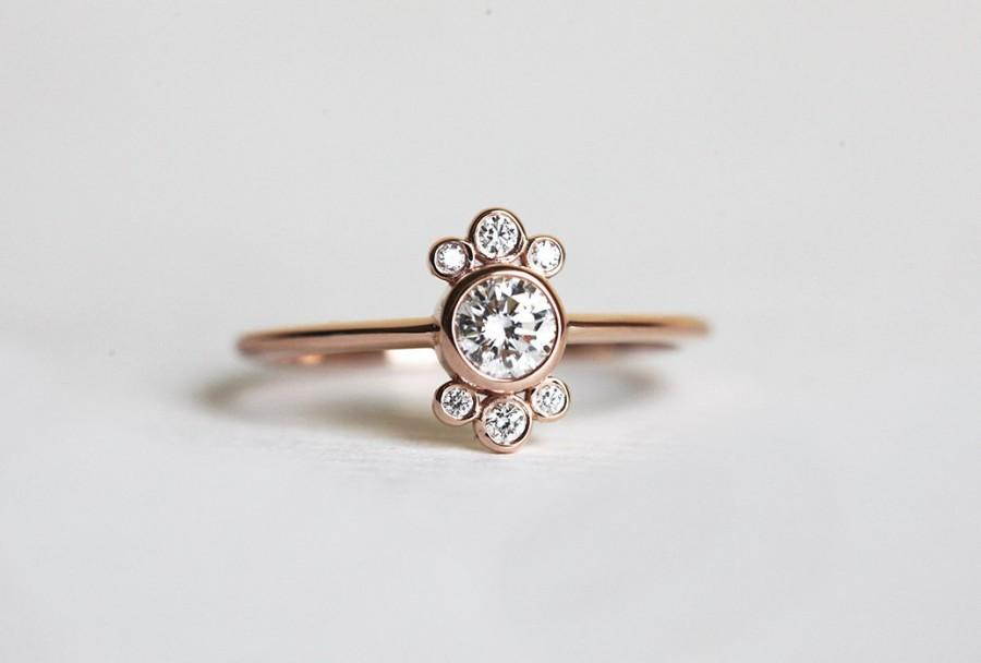 Wedding - Round Diamond Ring, 14k or 18k Solid Gold 0.25 Carat GIA Diamond in Bezel Setting, Dainty Crown Cluster