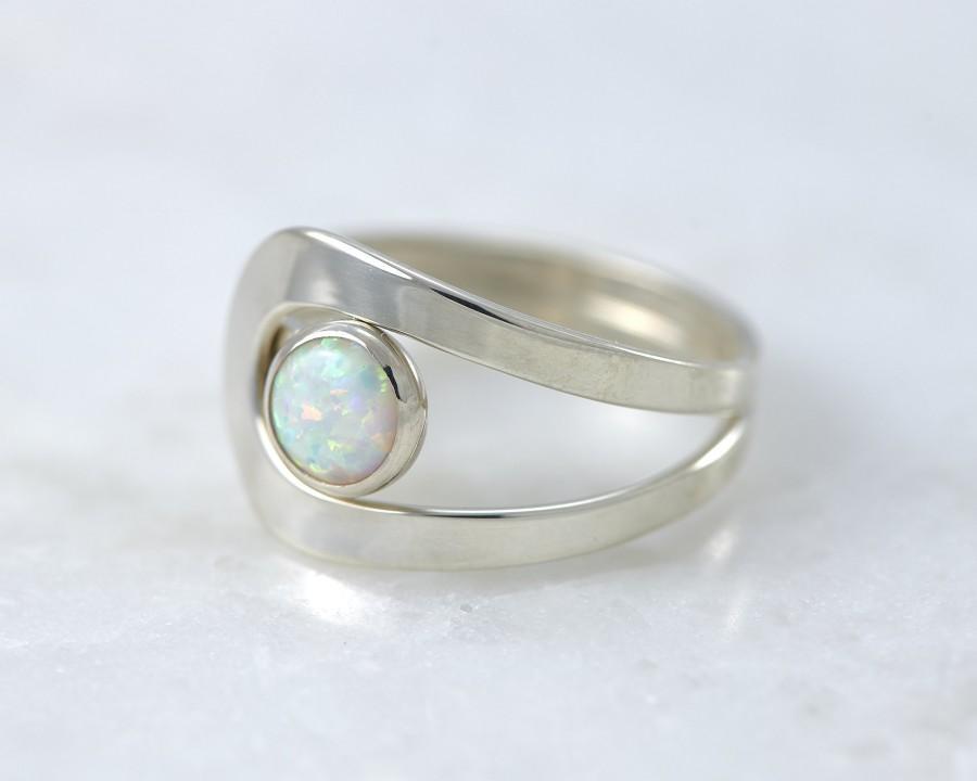 Wedding - Opal Ring, Silver Opal Ring, White Opal Ring, Opal Gemstone Ring, Sterling Silver Stone Ring, Handmade Sterling Silver Jewelry