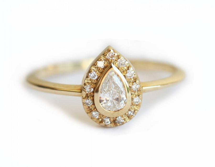 Wedding - Pear Halo Diamond Ring, Pear Engagement Ring 18k Yellow Gold