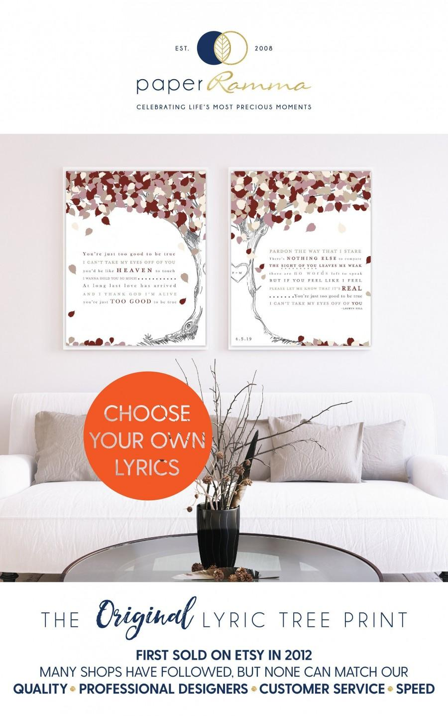 Mariage - First Dance Lyrics On Canvas, Your Wedding Song On Canvas, Anniversary Gift, Couples Gift, Can't Take My Eyes Off Of / W-L26-2PS HH4