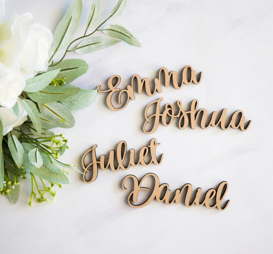 Wedding - Place Card Name Wood Plate Names, Cutout Words for Wedding Party or Event Decor, Escort Cards for Table Party Placecards (Item - LPC220)
