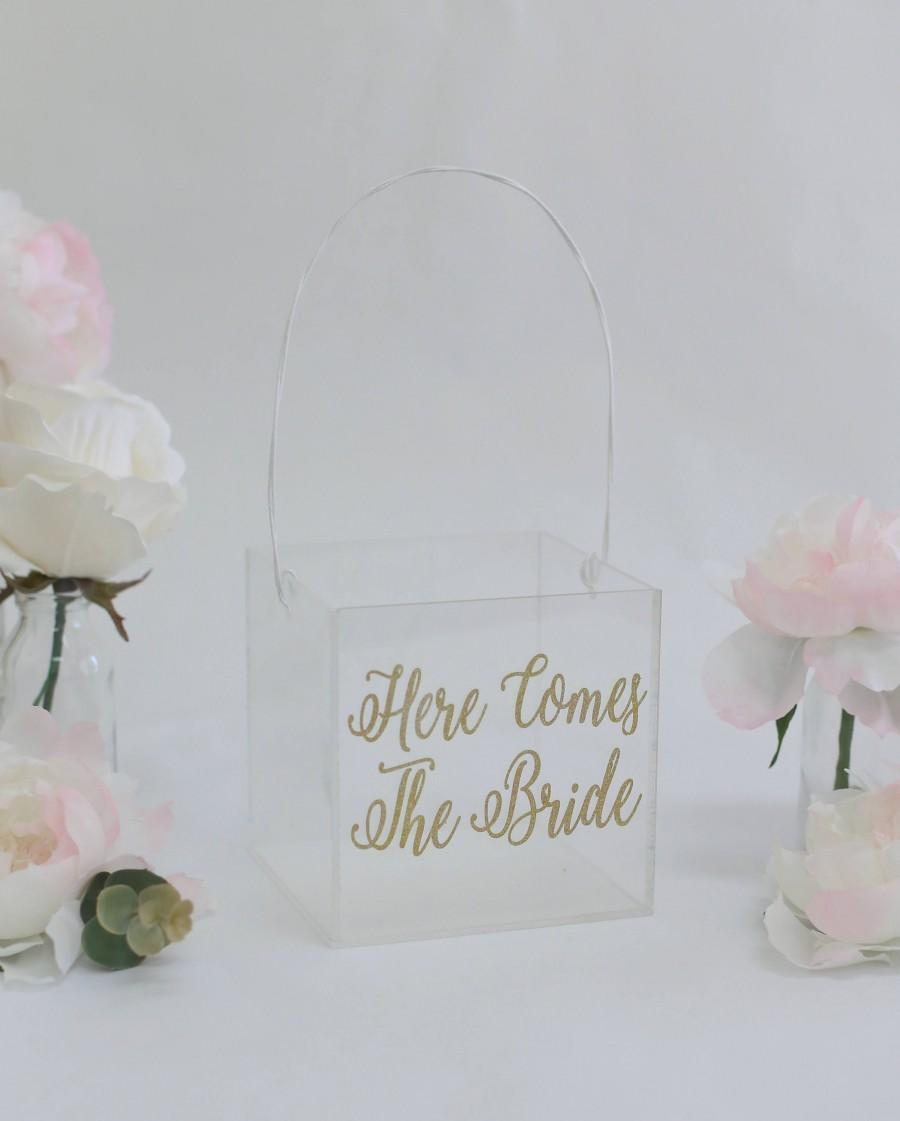 Mariage - Clear Flower Girl Basket Acrylic Wedding Here Comes The Bride Glitter Gold Calligraphy Modern Simplistic Plastic Glass Look (BBND20181)
