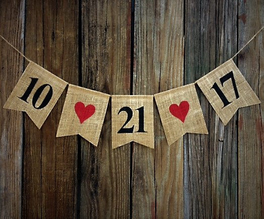 Mariage - Burlap Date Banner, Burlap Wedding Banner, Save the Date, Photo Prop, Wedding Bunting, Personalized Date Banner, Anniversary Banner