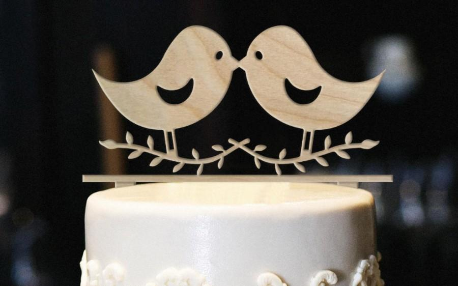 Mariage - Love Birds Cake Topper, Wood Wedding Cake Topper, Bird Cake Topper, Anniversary Cake Topper, Love Birds Wedding Cake Topper