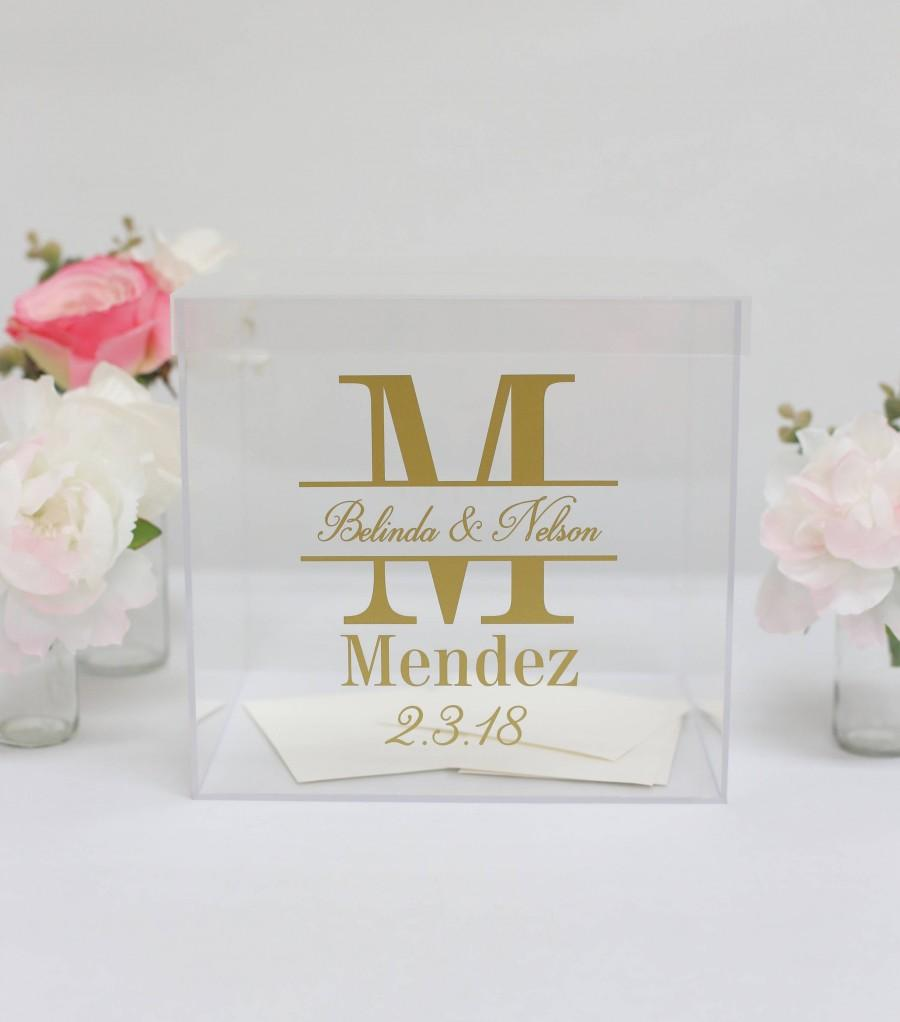Mariage - Personalized Wedding Card Box Clear Acrylic Modern Bridal Shower Engagement Party QUICK shipping  (Item EEBB201)