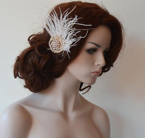 Wedding - Rose Gold  Bridal  Hair comb, Rose Gold  Vintage Style Brooch, Rose Gold Rhinestone Gatsby Hair Piece, Feather Headpiece for Wedding, Hair