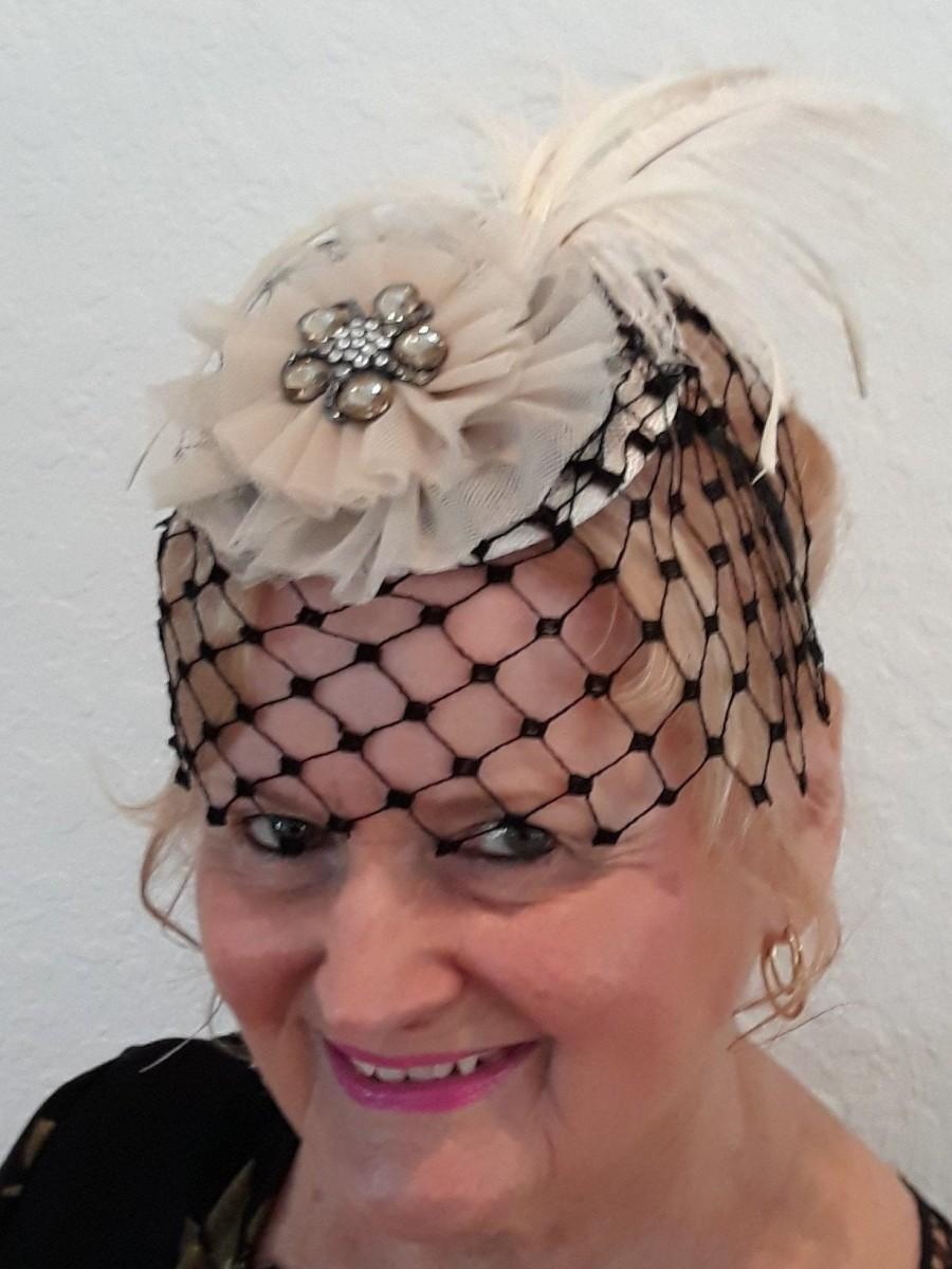 Wedding - Vintage Style Black Fascinator Hat, Black Birdcage Veil, Headband, Wedding Fascinator