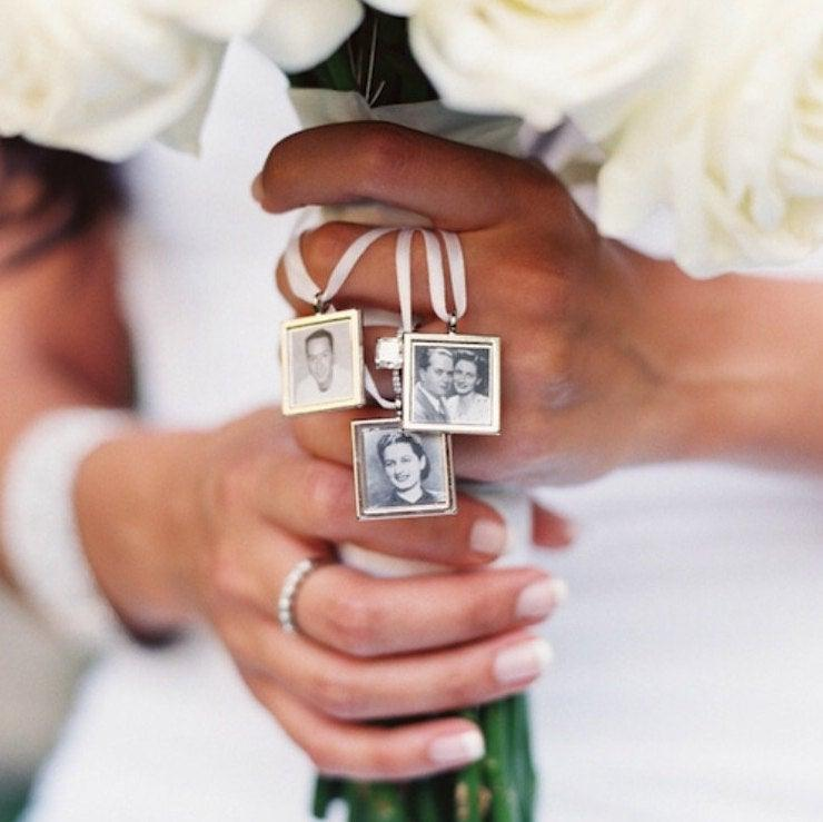 Wedding - Walk me down the aisle - Wedding Jewelry charms to hang from bouquet - Photo memory pendant for keepsake includes everything you need