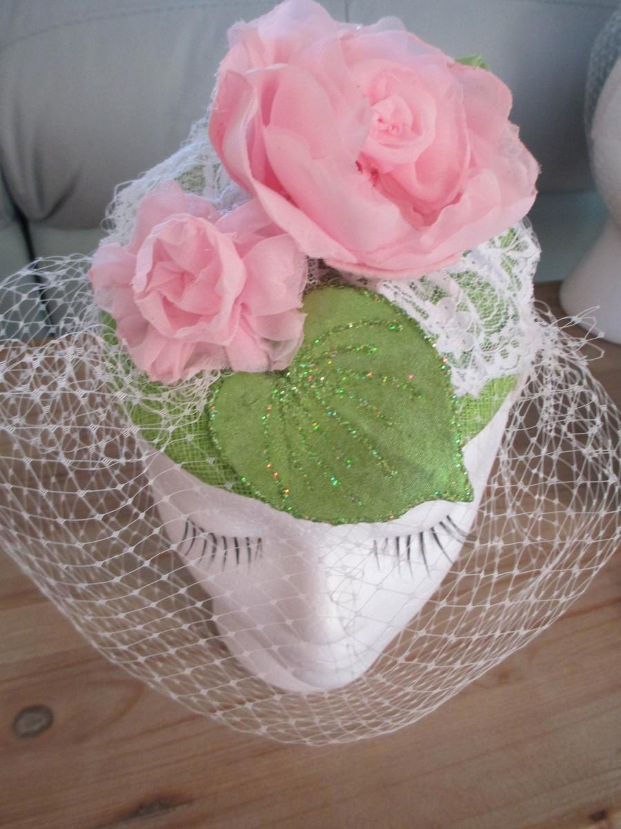 Wedding - Pink & Green Fascinator Hat, Women's Veil, Flower Headband, Pink Roses Fascinator, Bridesmaid Wedding, Wedding, Tea Party, Derby