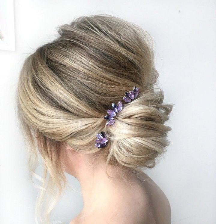Wedding - Set Of 3 Hair Pins Amethyst Rhinestone Bridal Hair Pin Purple Hair Piece Wedding Bobby Pins Rhinestone Hair Accessories Lavender Hair Clip